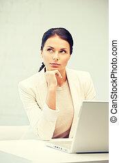 ordinateur portable, femme, informatique, songeur
