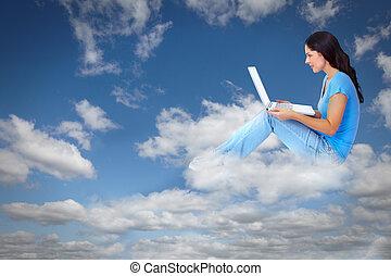 ordinateur portable, femme, jeune, computer.