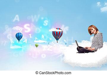 ordinateur portable, femme, jeune, nuage, séance