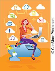 ordinateur portable, femme, nuage, calculer