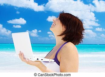 ordinateur portable, femme, plage, informatique