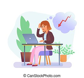 ordinateur portable, femme, préoccupé, vecteur, jeune, fonctionnement
