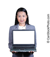 ordinateur portable, femme, présentation, business
