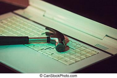 ordinateur portable, fixation, vieux, fin, soutien, électronique, matériel, technologie, service., issues., problems., pc, logiciel, marteau, amendement, keyboard., technique, réparation, haut, client, informatique, concept