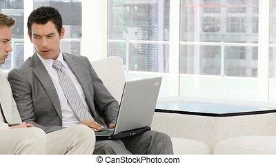 ordinateur portable, fonctionnement, business, groupe