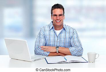 ordinateur portable, fonctionnement, computer., homme