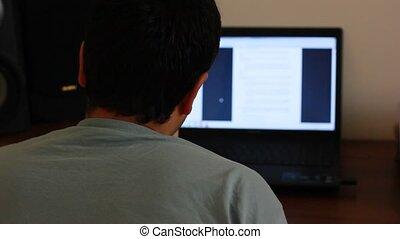ordinateur portable, fonctionnement, homme