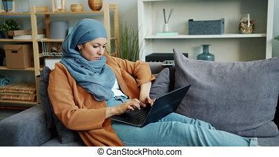 ordinateur portable, fonctionnement, musulman, occupé, ...