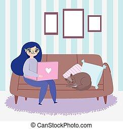 ordinateur portable, fonctionnement, sofa, salon, chat, remotely, femme, jeune