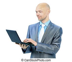 ordinateur portable, fond blanc, homme