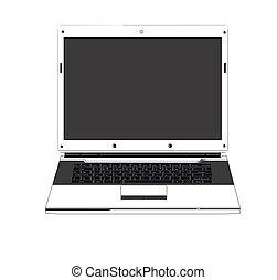 ordinateur portable, fond blanc, isolé