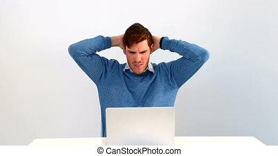 ordinateur portable, fond, contre, utilisation, homme,...