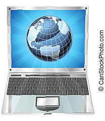 ordinateur portable, globe, concept