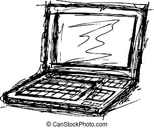 ordinateur portable, grunge