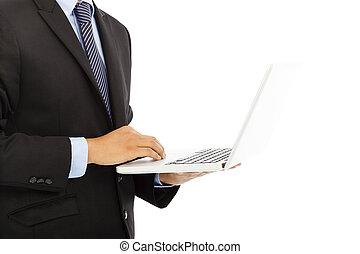 ordinateur portable, haut, main, homme affaires, utilisation, fin