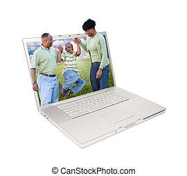 ordinateur portable, heureux, américain, famille, africaine