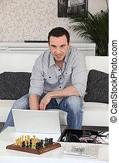 ordinateur portable, homme, assis