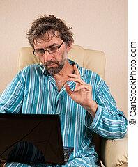 ordinateur portable, homme, chaise, séance