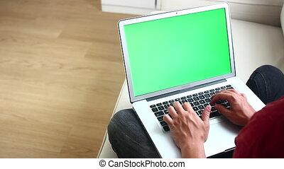 ordinateur portable, homme, dactylographie