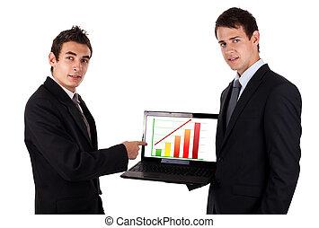 ordinateur portable, homme, diagramme, business, exposition