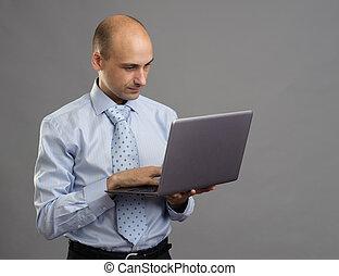 ordinateur portable, homme, fonctionnement, business, beau