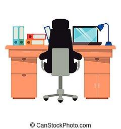 ordinateur portable, icône, isolé, bureau bureau