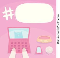 ordinateur portable, illustration, chat, parole, hashtag, bulle