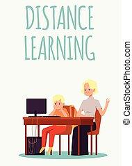 ordinateur portable, illustration., distance, écoliers, derrière, apprentissage, vecteur, plat