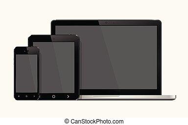 ordinateur portable, intelligent, téléphone, et, pc tablette, railler, haut