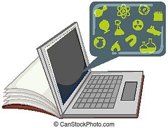 ordinateur portable, isolé, education, icône