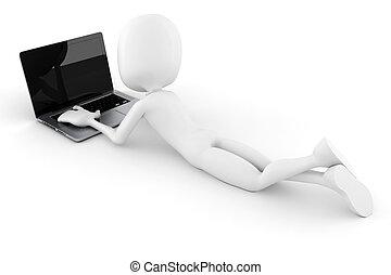 ordinateur portable, isolé, fond, blanc, 3d, homme