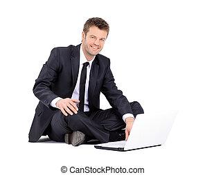 ordinateur portable, isolé, fond, homme affaires, blanc, beau