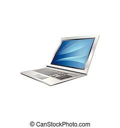 ordinateur portable, isolé, illustration, vecteur, fond, blanc