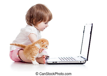 ordinateur portable, jouer, girl, gosse, chaton
