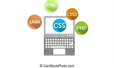 ordinateur portable, langue, programmation, animation