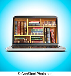 ordinateur portable, livre bibliothèque, internet, store., e-apprendre, education, ou