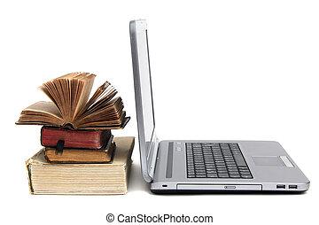 ordinateur portable, livre, vieux