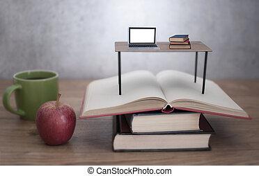 ordinateur portable, livres, bureau, étude