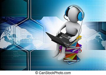 ordinateur portable, livres, homme, 3d