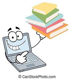 ordinateur portable, livres, type, tenue, pile