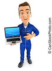 ordinateur portable, mécanicien, 3d