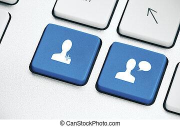 ordinateur portable, média, boutons, social