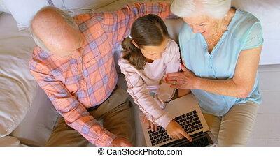 ordinateur portable, maison, confortable, vue, utilisation, multi-generation, caucasien, haut angle, famille, 4k