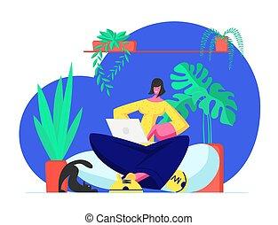 ordinateur portable, maison, sourire, réseaux, pages., toile, média, communiquer, jeune, virtuel, ligne, plat, séance femme, internet, illustration, bavarder, mains, dessin animé, entertainment., surfer, vecteur, social, ou