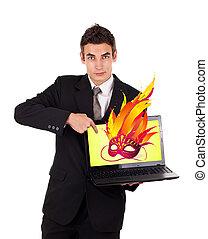 ordinateur portable, masque, pointage, homme affaires