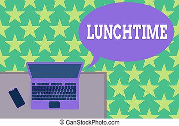 ordinateur portable, milieu, mensonge, signification, supérieur, bureau, side., après, smartphone, avant, concept, texte, petit déjeuner, bureau, jour, repas, lunchtime., dîner, écriture, fonctionnement, vue, bois, endroit