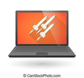 ordinateur portable, missiles, icône