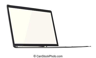 ordinateur portable, moderne, isolé, arrière-plan., lustré, blanc