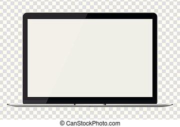 ordinateur portable, moderne, isolé, arrière-plan., lustré, transparent