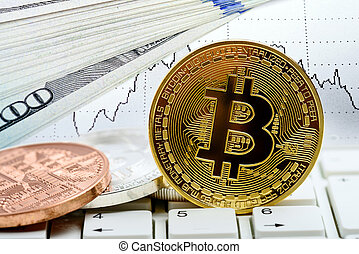 ordinateur portable, monnaie, bitcoin, clavier
